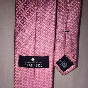 Mens Tie Stafford Silk 60 in Pink Grenadine